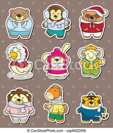 winter animal stickers - csp9422456