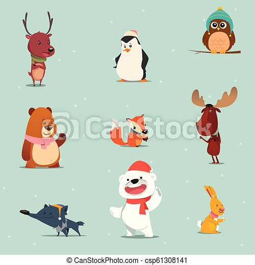 Winter Animals Cartoon Set A Vector Illustration Of A Set Of Winter Animals Cartoon Canstock