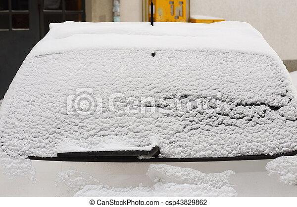 winter back car window - csp43829862