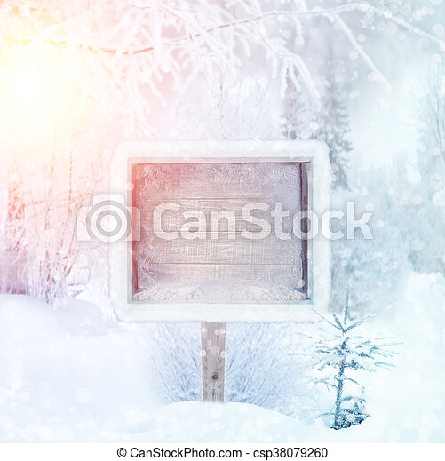 winter background scene landscape wooden sign in the winter forest winter wonderland winter trees in snow space for text christmas and happy new year