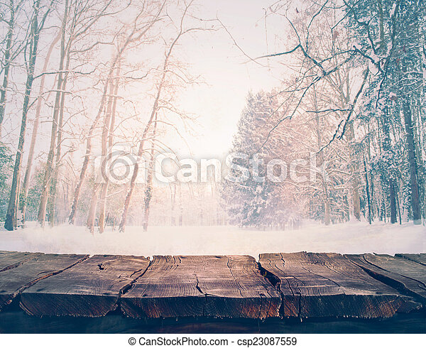 Winter background. Winter snow landscape with wooden table