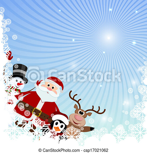 Winter background with snowflakes and Christmas characters - csp17021062