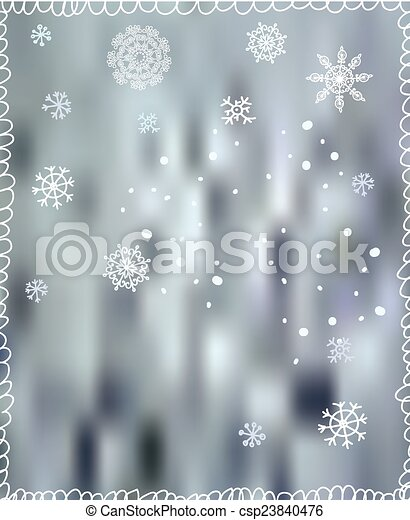 Winter background with snowflakes - for Christmas or New Year - csp23840476