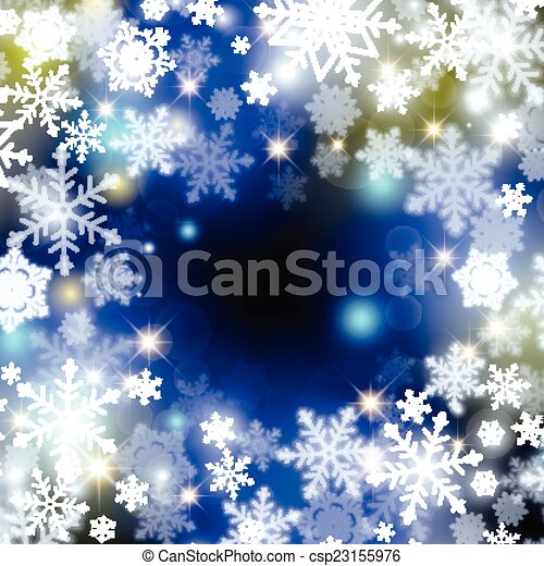 winter background with snowflakes - csp23155976