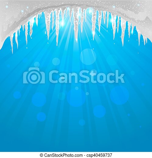 Winter background with sparkling icicles - csp40459737