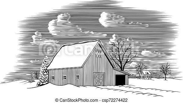 Winter Barn Scene - csp72274422