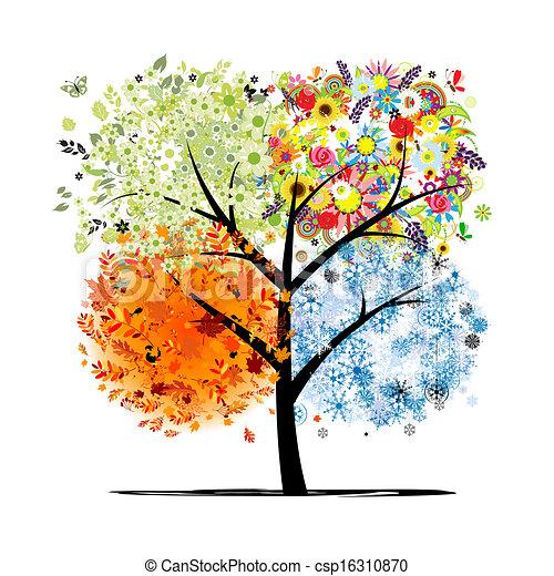 winter., beau, art, printemps, automne, -, arbre, quatre, conception, saisons, ton, été - csp16310870