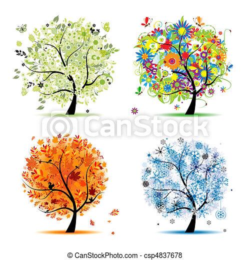 winter., beau, art, printemps, automne, -, arbre, quatre, conception, saisons, ton, été - csp4837678