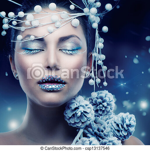 Winter Beauty Woman. Christmas Girl Makeup  - csp13137546