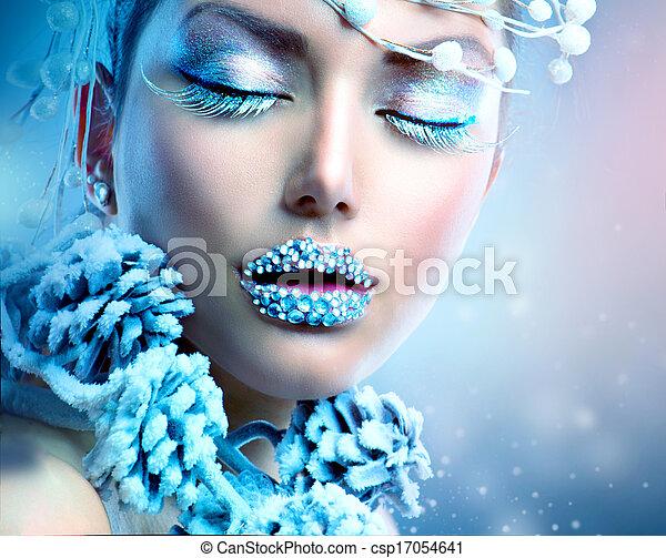 Winter Beauty Woman. Christmas  Makeup - csp17054641