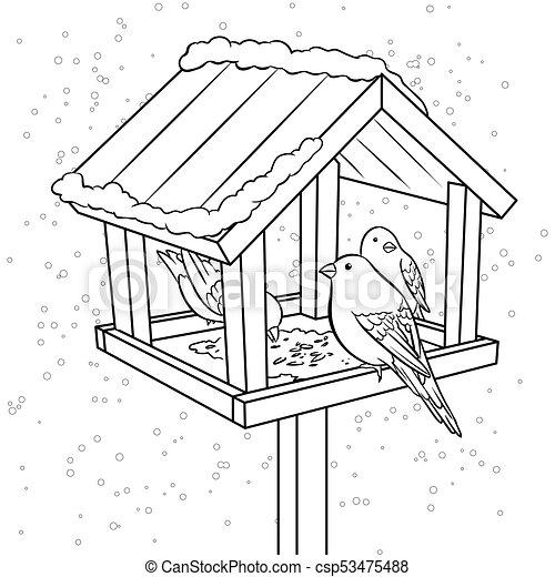 Winter Bird Feeder Coloring Book Vector Illustration