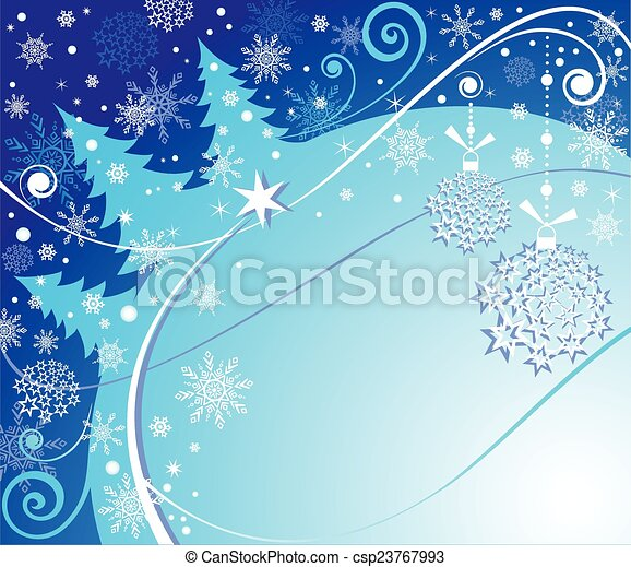 Winter blue card - csp23767993
