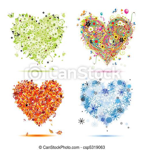 winter., bonito, arte, primavera, outono, -, quatro, desenho, estações, corações, seu, verão - csp5319063