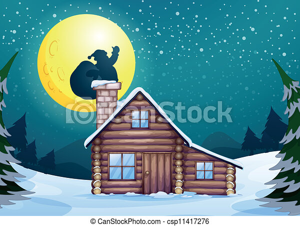 Cabin Clipart And Stock Illustrations Cabin Vector EPS - Christmas cabin fireplace scenes