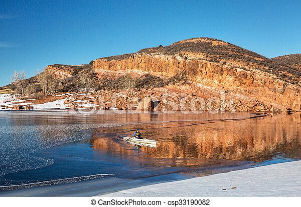 winter canoeing in Colorado - csp33190082