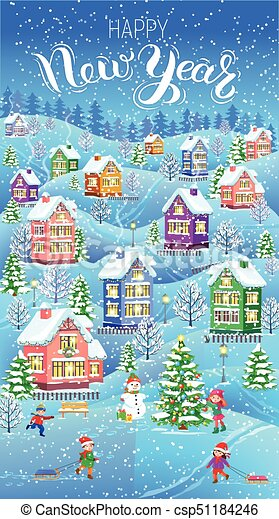 winter card vertical happy new year banner