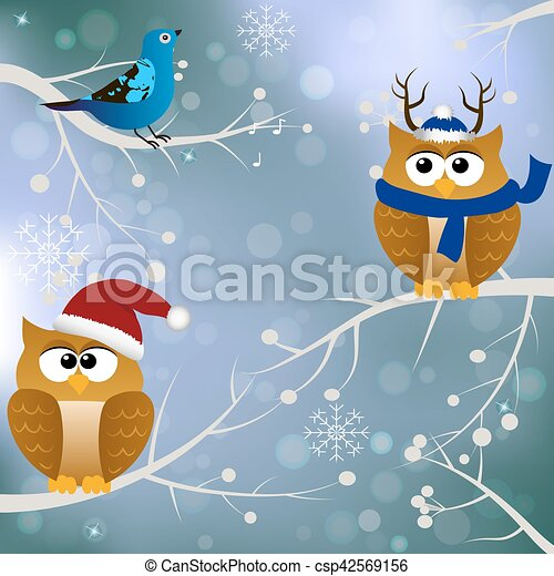 winter card with birds - csp42569156