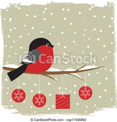 Winter card with bullfinch - csp11546892