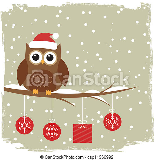 Winter card with cute owl - csp11366992