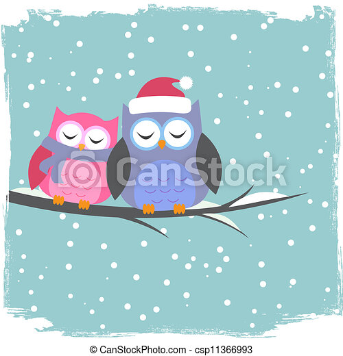 Winter card with cute owls - csp11366993