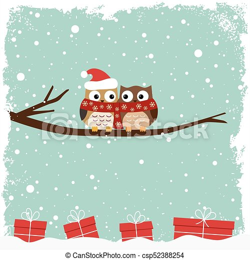Winter card with two owls - csp52388254