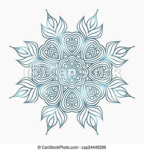 winter celtic knot pattern card, mandala, amulet - csp24448286