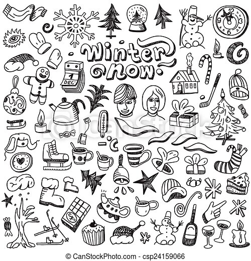 Winter Christmas Symbols Doodles Set Winter Christmas Symbols