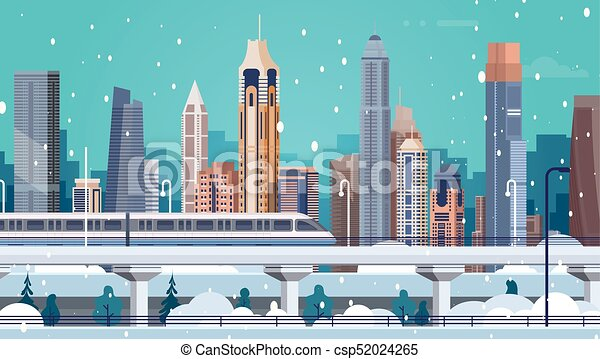 winter city landscape buildings in snow merry christmas and happy new year background csp52024265