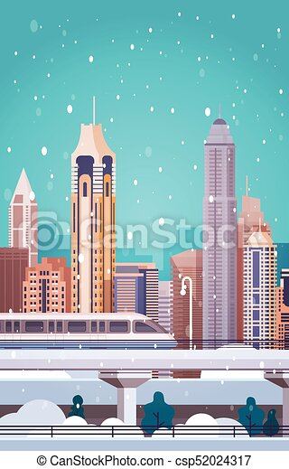 winter city landscape buildings in snow merry christmas and happy new year background vertical banner
