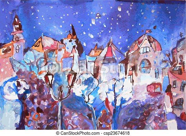Winter City Painting