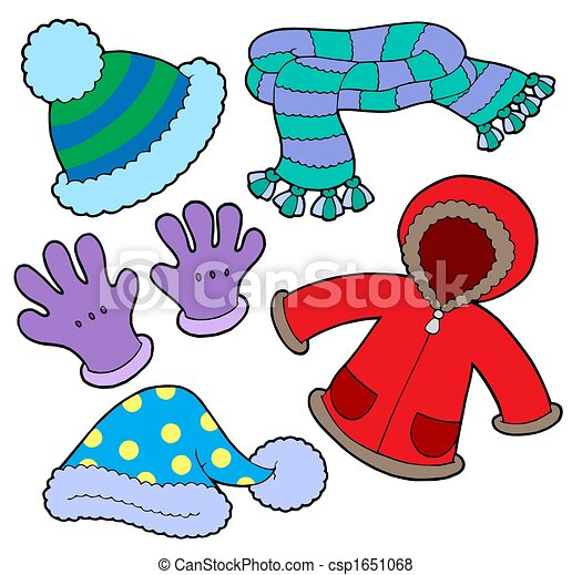 Winter clothes collection isolated illustration