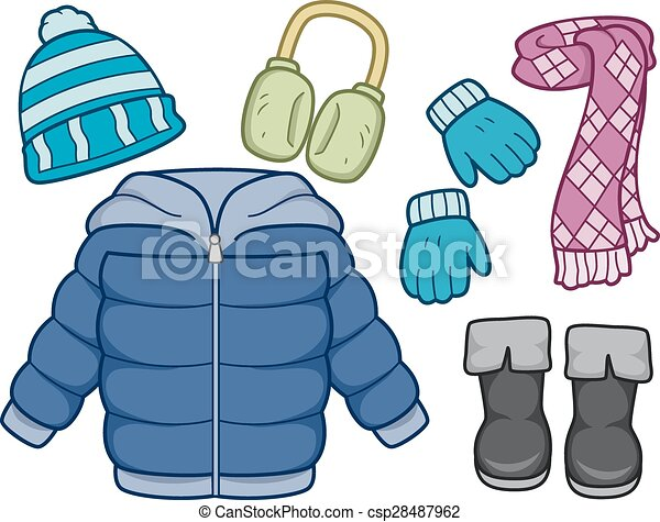 winter clothing illustration of different items commonly worn on rh canstockphoto com winter gear clipart winter jackets clipart