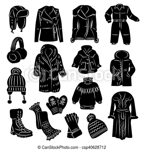 2b4618a6 Winter clothing icons set. Vector illustrations of winter warm ...