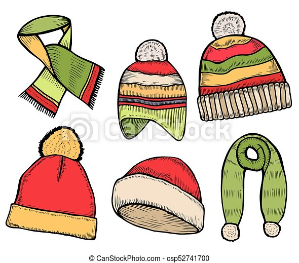 f9ba4a5e Vector set of hand drawn winter clothing icons. knitted scarf and hat.  engraved colored illustration. use for winter sport design promotion,  store, ski ...