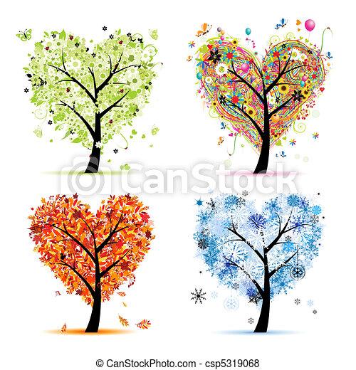 Cuatro estaciones: primavera, verano, otoño, invierno. El corazón del árbol de arte para tu diseño - csp5319068