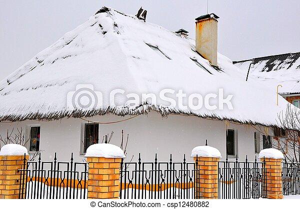 Winter cottage in the village - csp12480882