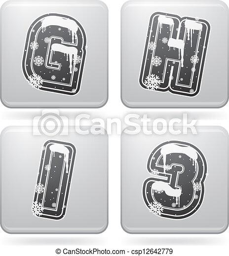 Winter digits & capital letters - csp12642779
