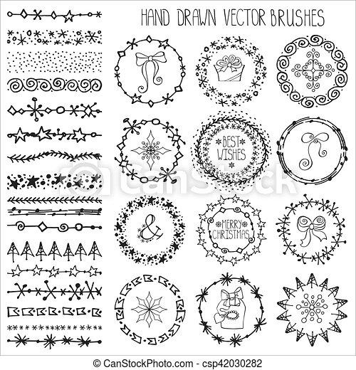 Winter Doodle Brushes Setchristmas Decorblack Christmas Hand