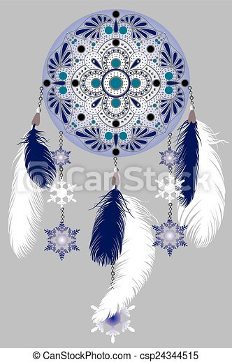 winter dream catcher drawing blue dreamcatcher with feathers and