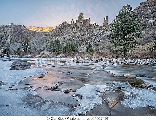 winter dusk over Poudre Canyon - csp24927496