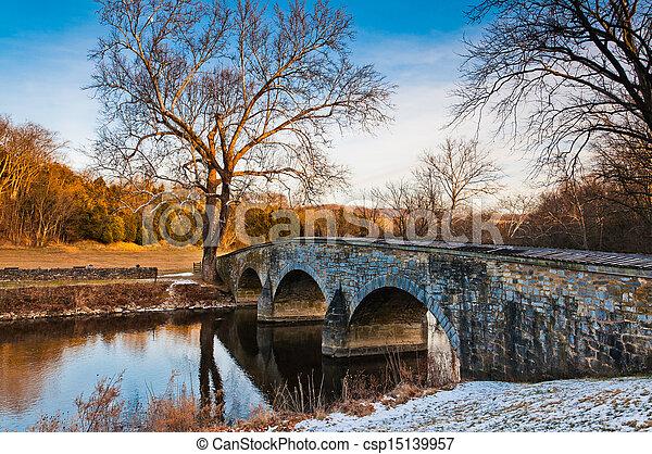 Winter evening at Burnside Bridge, in Antietam National Battlefield, Maryland - csp15139957