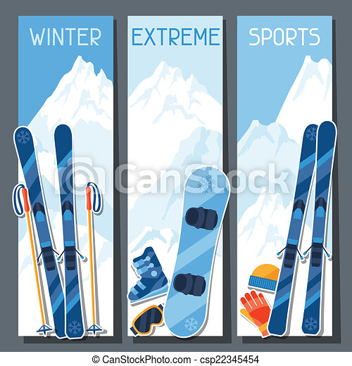 Winter extreme sports banners with mountain winter landscape. - csp22345454