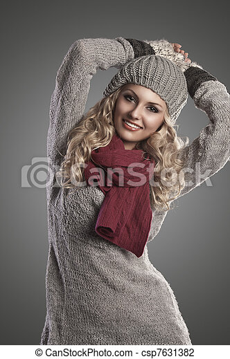 winter fashion girl in grey wool - csp7631382