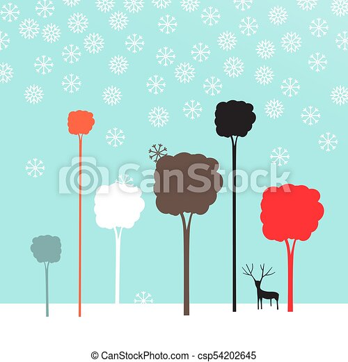 Winter Flat Design Landscape - csp54202645