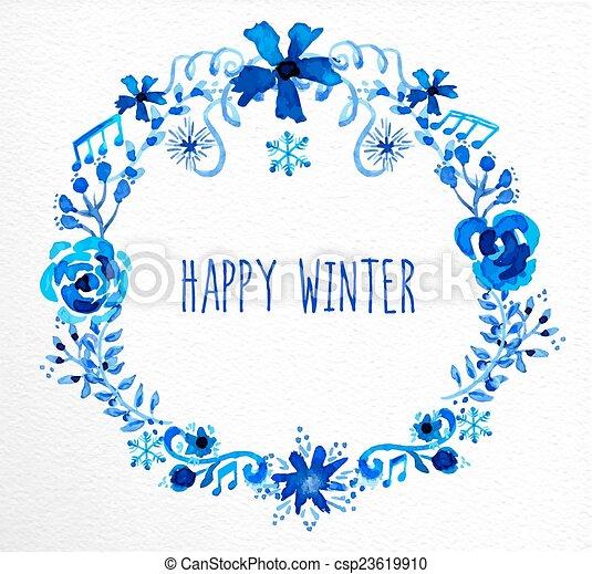 Winter flowers wreath greeting card happy winter garland vector winter flowers wreath greeting card csp23619910 m4hsunfo