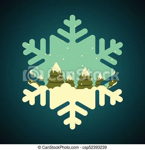 Winter forest in snowflake shape border - csp52393239