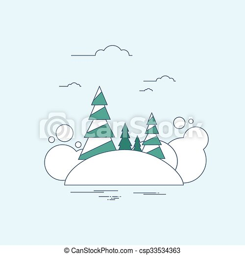 Winter Forest Landscape Christmas Background, Pine Snow   - csp33534363
