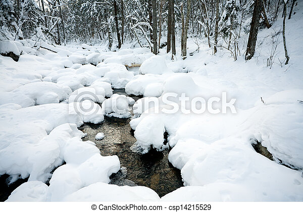 Winter forest river under the snow  - csp14215529