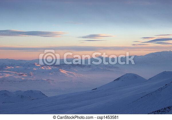 Winter frozen cloudscape, Mount Erciyes view, Turkey - csp1453581