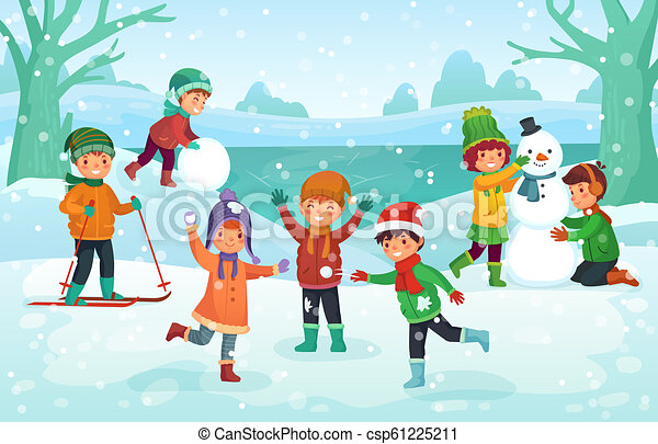 998eb8d72a37d Winter Fun For Kids. Happy Cute Children Playing Outdoors In Winters Hats.  Christmas Winter Holiday